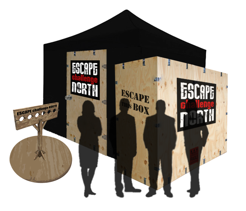 escape this box tent pillory w people